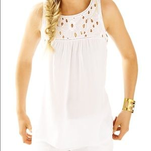 Lily Pulitzer White Flutter Top